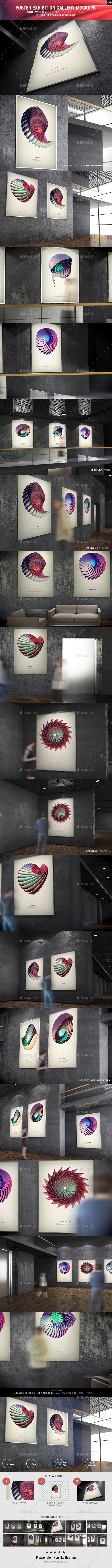 GraphicRiver Poster Exhibition Gallery Mockups 9426620