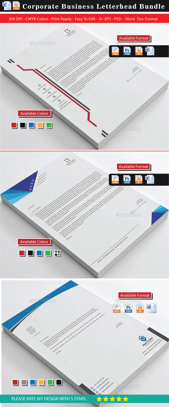 GraphicRiver 76 Corporate Modern Letterheads 9427327