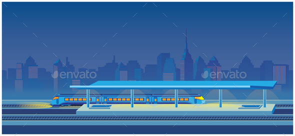 GraphicRiver Night Train Station 9427508