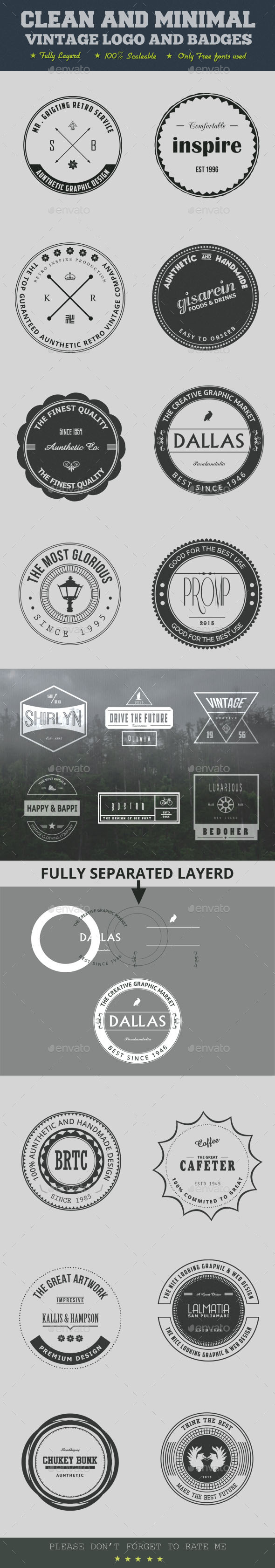 GraphicRiver Clean And Minimal Vintage Logo And Badges 9369091