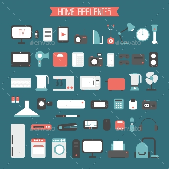 GraphicRiver Set of Electronic Devices and Home Appliances 9429263