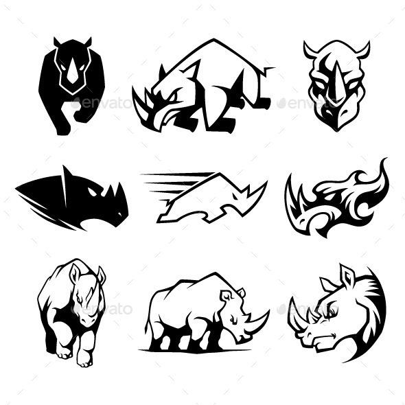 GraphicRiver Rhinoceros Symbol 9429478
