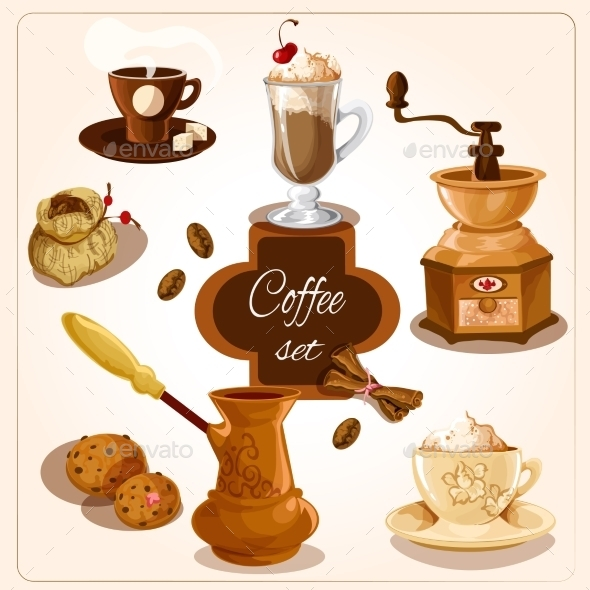 GraphicRiver Coffee Decorative Set 9430316