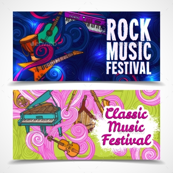 GraphicRiver Music Horizontal Banners 9430321