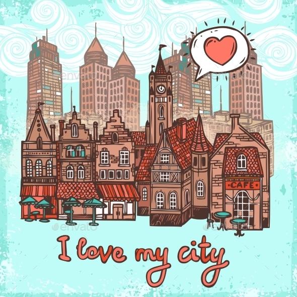 GraphicRiver City Sketch Background 9430322