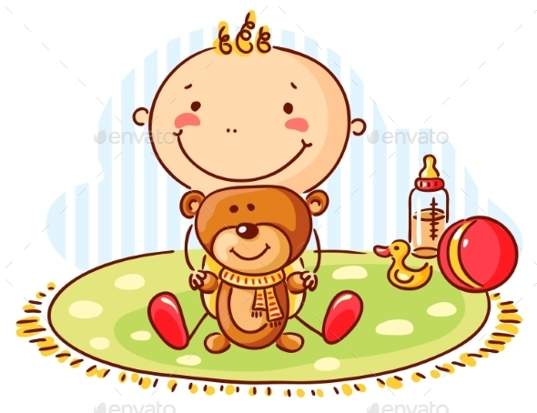 GraphicRiver Baby and Teddy Bear 9430629