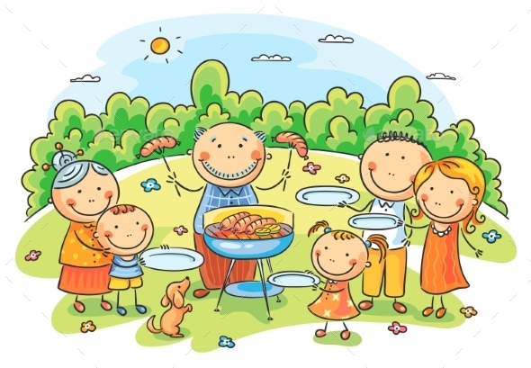 GraphicRiver Big Family having Picnic 9430634