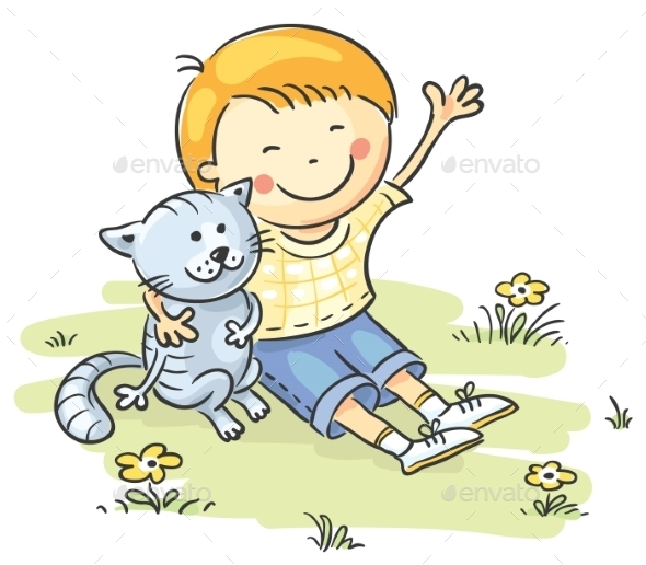 GraphicRiver Little Boy with His Cat 9430639