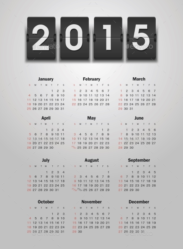 GraphicRiver Calendar 2015 Year 9430674
