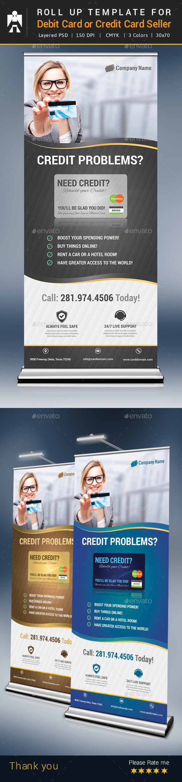 GraphicRiver Roll Up for Debit Card or Credit Card Seller 9370374