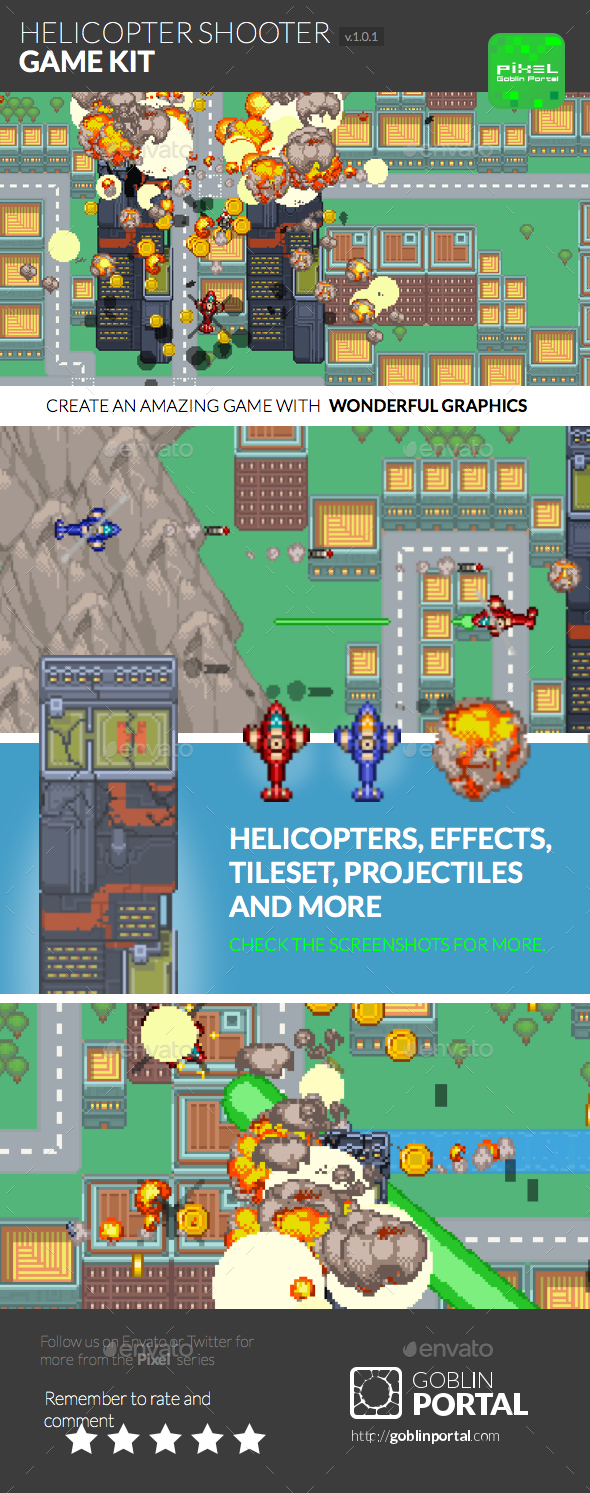 GraphicRiver Pixel Helicopter Shooter 9430746