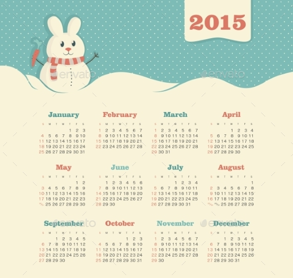 GraphicRiver Calendar 2015 Year with Snowman 9430811