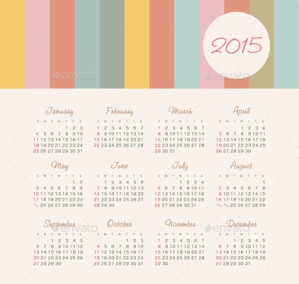 GraphicRiver Calendar 2015 Year 9430837