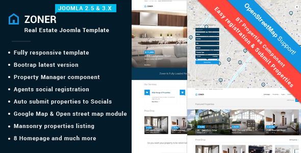 ThemeForest Zoner Solution for Joomla Real Estate website 9385349