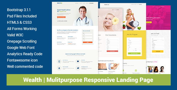 Wealth - Responsive Landing Page Templates - Health & Beauty Retail