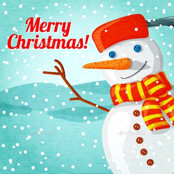 GraphicRiver Snowman Christmas Greeting Card 9431786