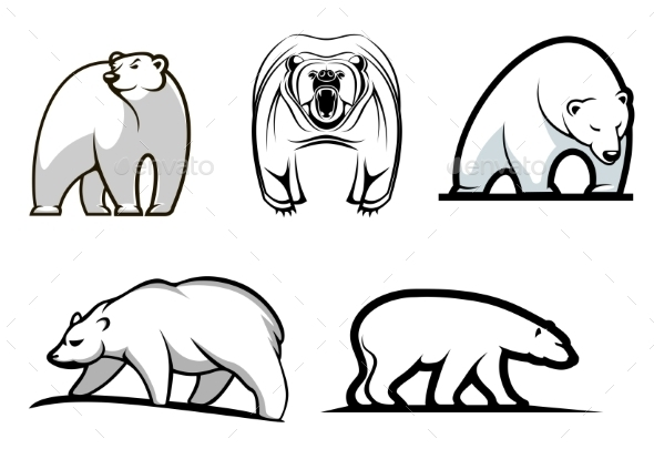 GraphicRiver Set of Cartoon Polar Bears 9431822