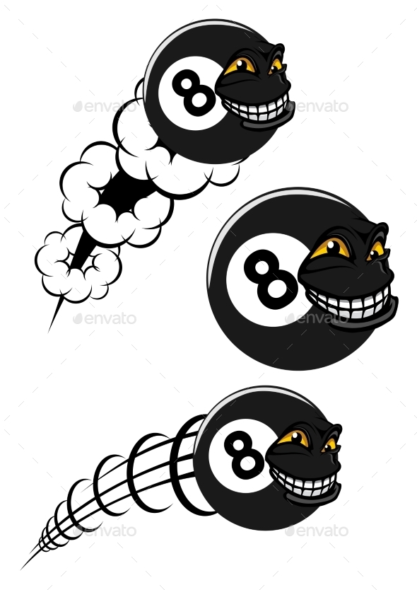 GraphicRiver Flying Victorious Number 8 Billiard Ball Icon 9431825