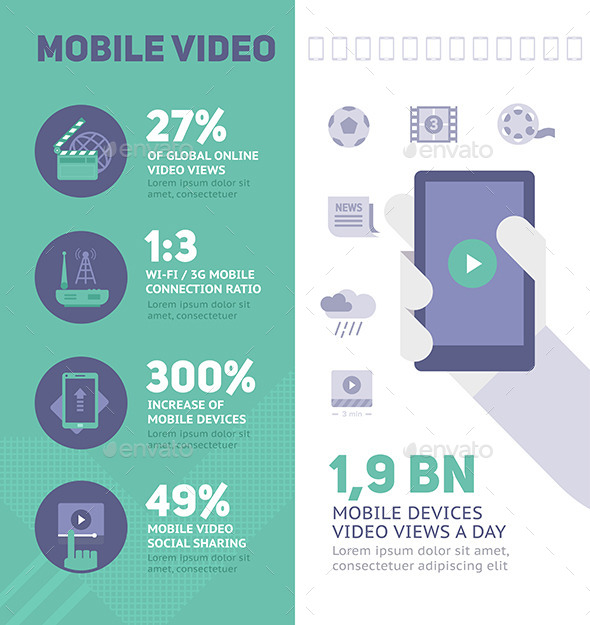GraphicRiver Mobile Online Video Infographics 9431875