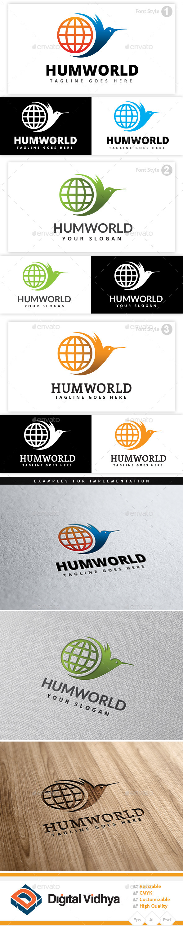 GraphicRiver Hummingbird World Logo 9431947