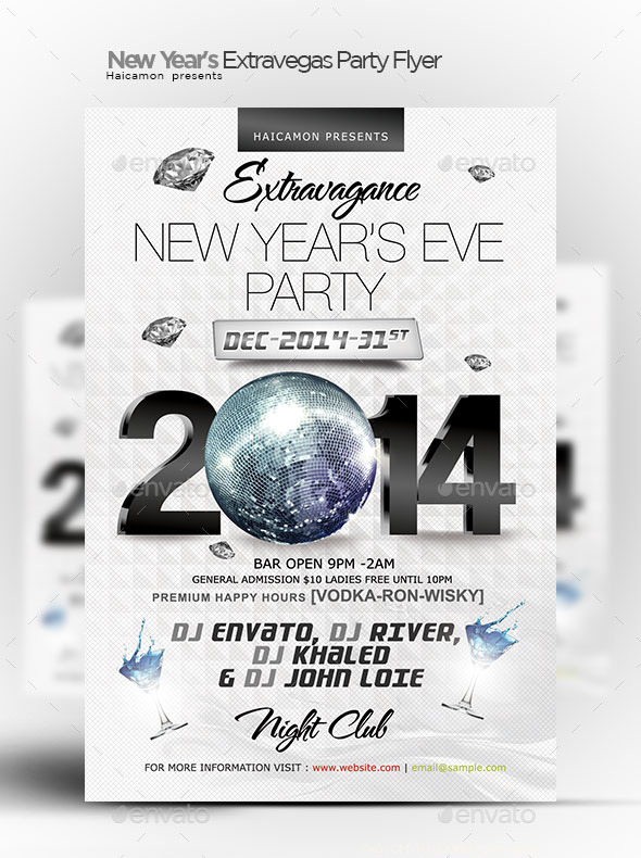 New Year's Extravegas Party Flyer - Clubs & Parties Events