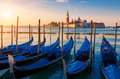 Beautiful view of Venice with gondolas at sunrise - PhotoDune Item for Sale