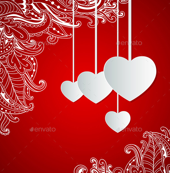 GraphicRiver Red Background with Hearts 9432543
