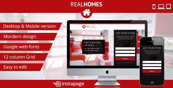 ThemeForest Instapage RealHomes Real Estate Landing Page 9339800