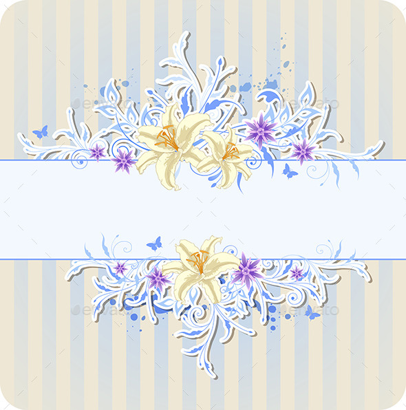 GraphicRiver Decorative Blue Background with Lily 9432622