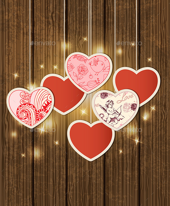 GraphicRiver Background with Hearts for Valentine s Day 9432967