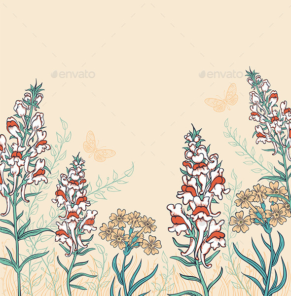 GraphicRiver Background with Wildflowers and Butterflies 9432980