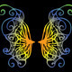 illustration. Iridescent wings of a butterfly on a black background - PhotoDune Item for Sale