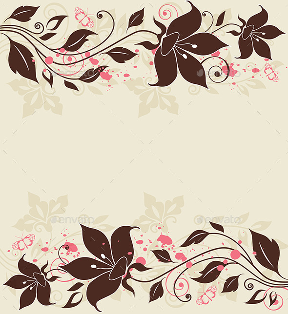 GraphicRiver Decorative Background with Flowers 9433017