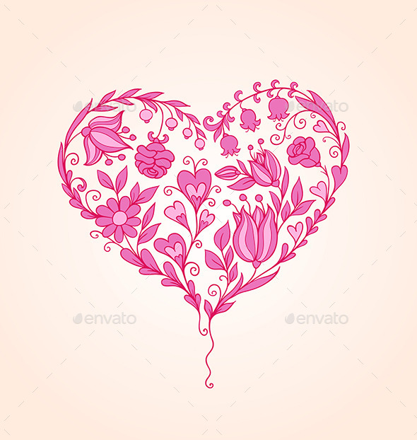 GraphicRiver Hand Drawn Floral Heart 9433123