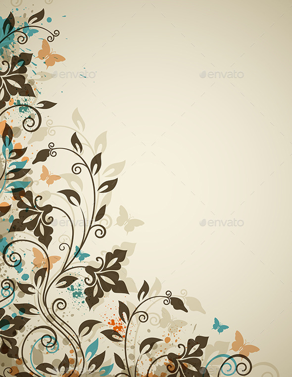 GraphicRiver Decorative Vintage Background with Flowers 9433132