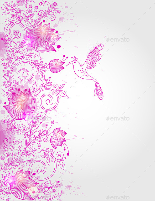 GraphicRiver Hand Drawn Pink Floral Background 9433173