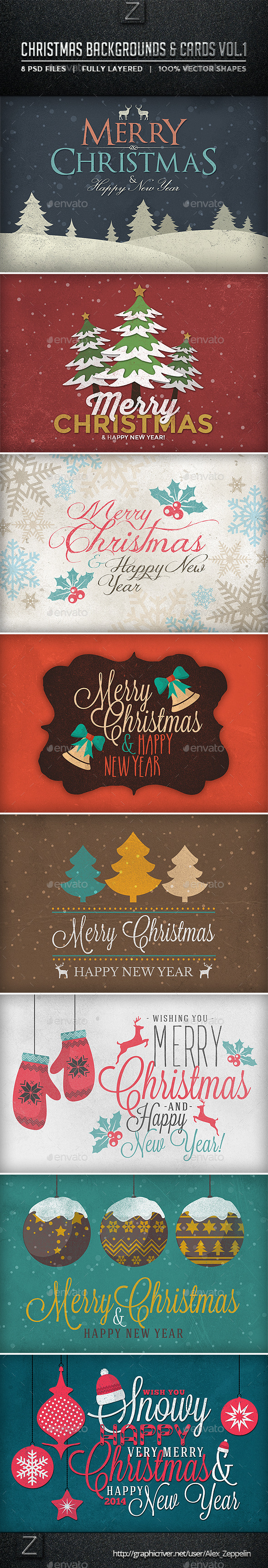 GraphicRiver Christmas Backgrounds and Cards Vol.1 9433200