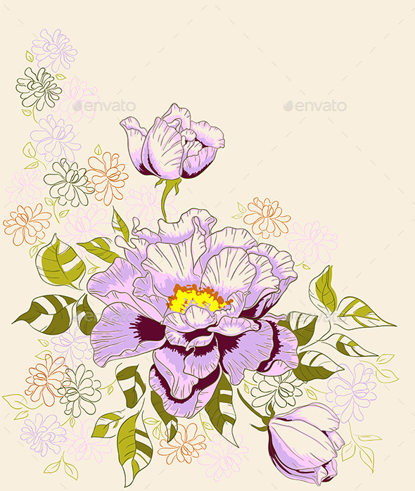 GraphicRiver Decorative Background with Peony Flowers 9433220