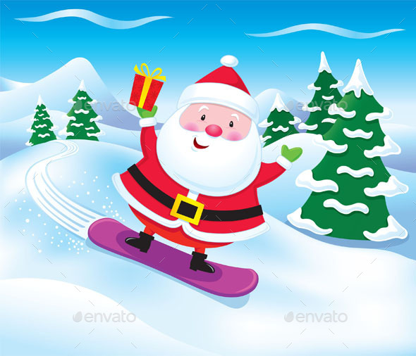 GraphicRiver Snowboarding Santa Claus with Present 9433252