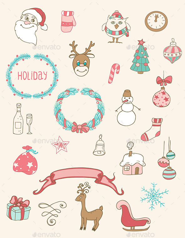 GraphicRiver Christmas Doodle Desing Elements 9433377