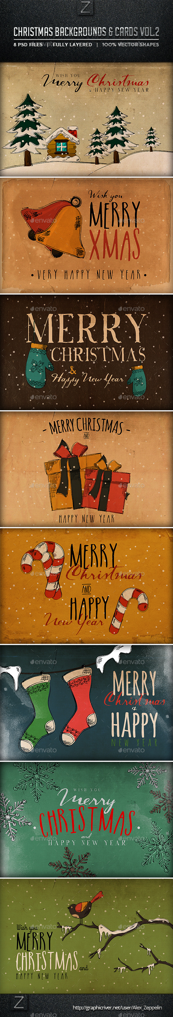 GraphicRiver Christmas Backgrounds and Cards Vol.2 9433381