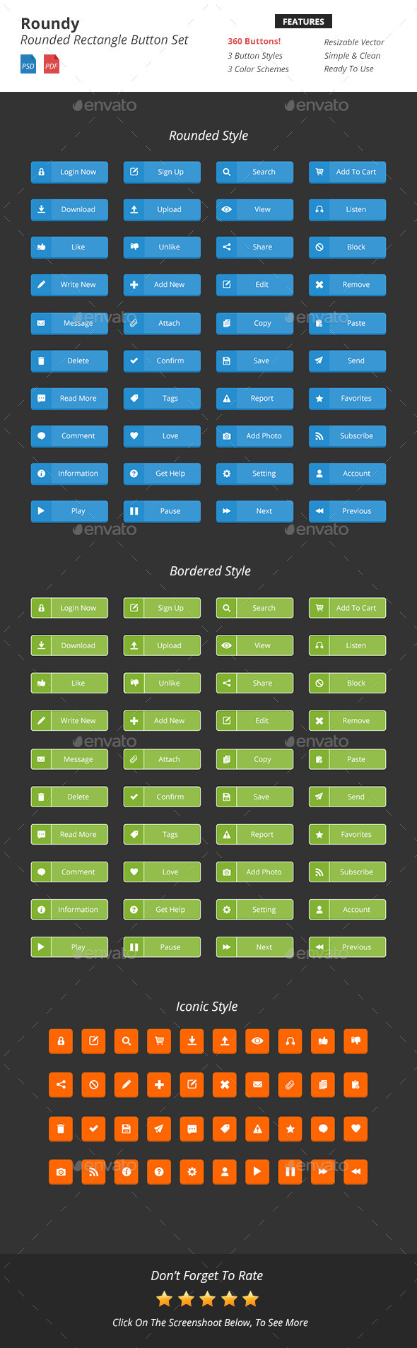 GraphicRiver Roundy Rounded Rectangle Button Set 9433498