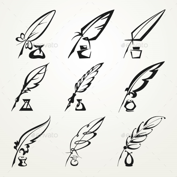 GraphicRiver Collection Feather Pens and Ink 9434102