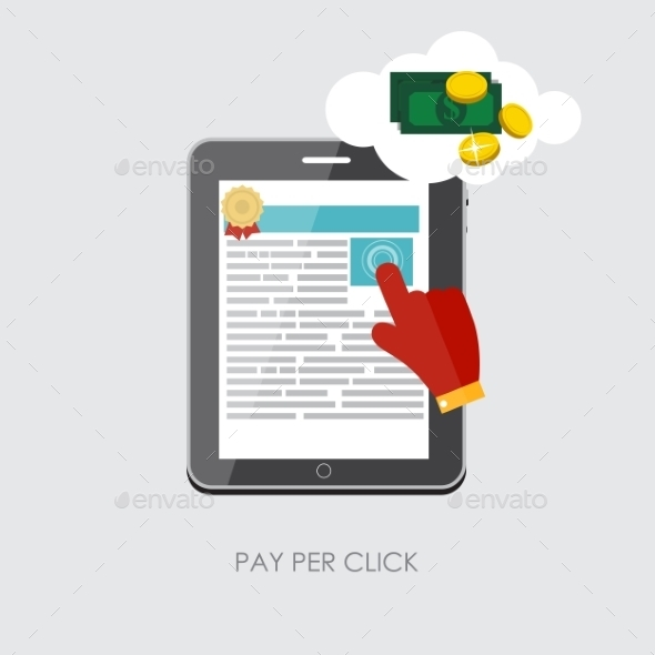 GraphicRiver Pay Per Click Flat Concept for Web Marketing 9434408
