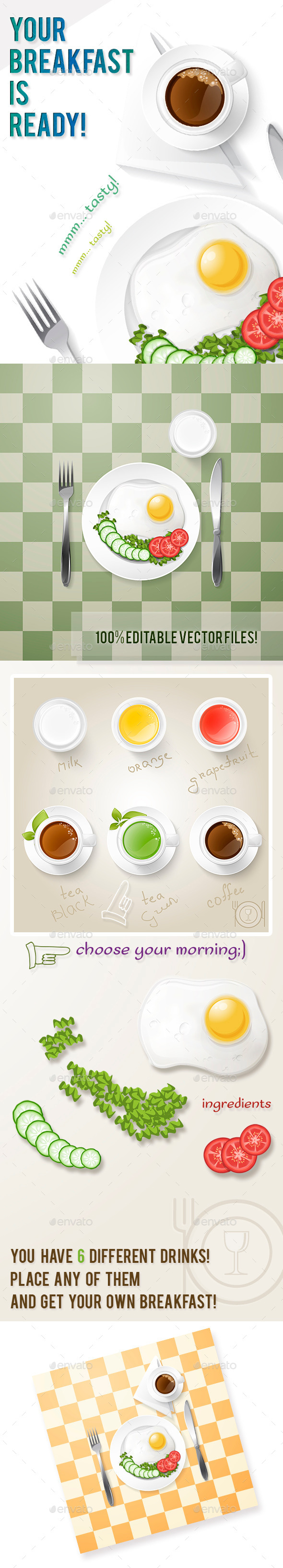 GraphicRiver Breakfast and Drinks Set 9434722