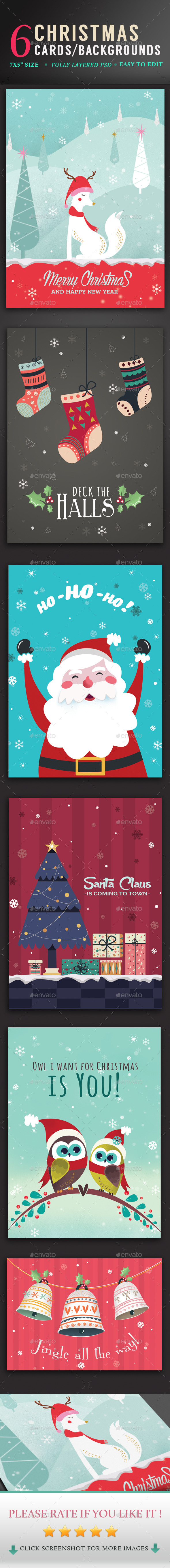 GraphicRiver Christmas Cards Backgrounds Set 9434765