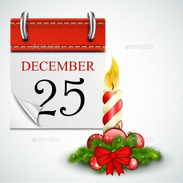 GraphicRiver 25 December Opened Calendar With Candle 9434810