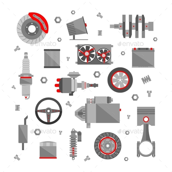GraphicRiver Set of Auto Spare Parts 9434838