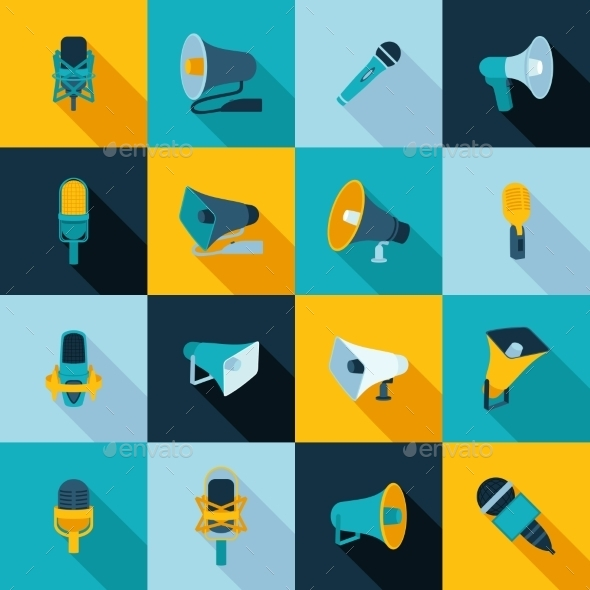 GraphicRiver Microphone and Megaphone Icons 9434869