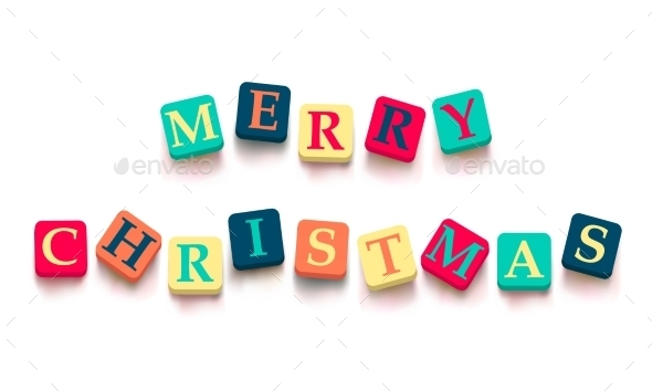 GraphicRiver Words Merry Christmas with Colorful Blocks 9434873